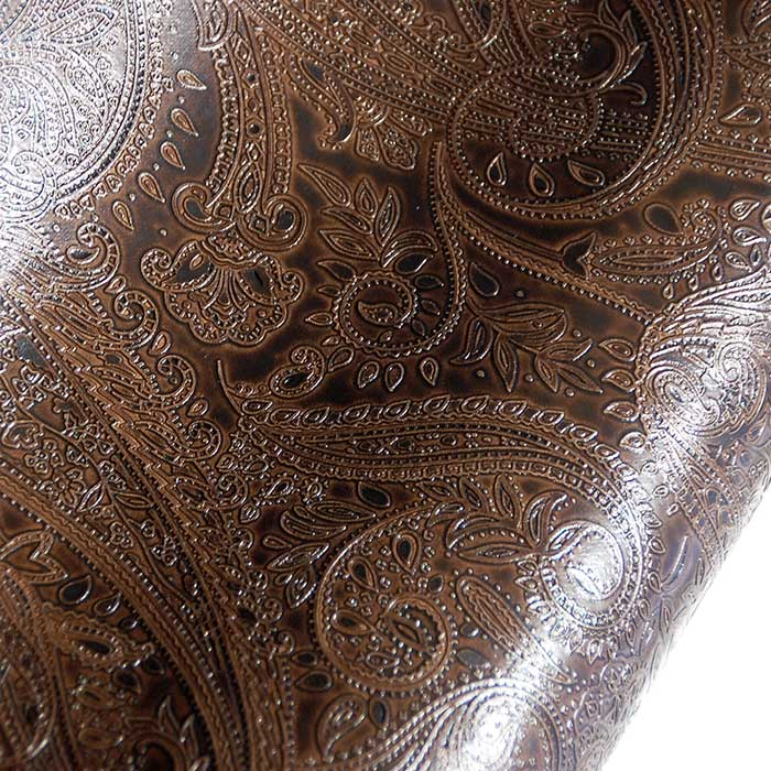 Great fake leather with embossed paisley on vinyl