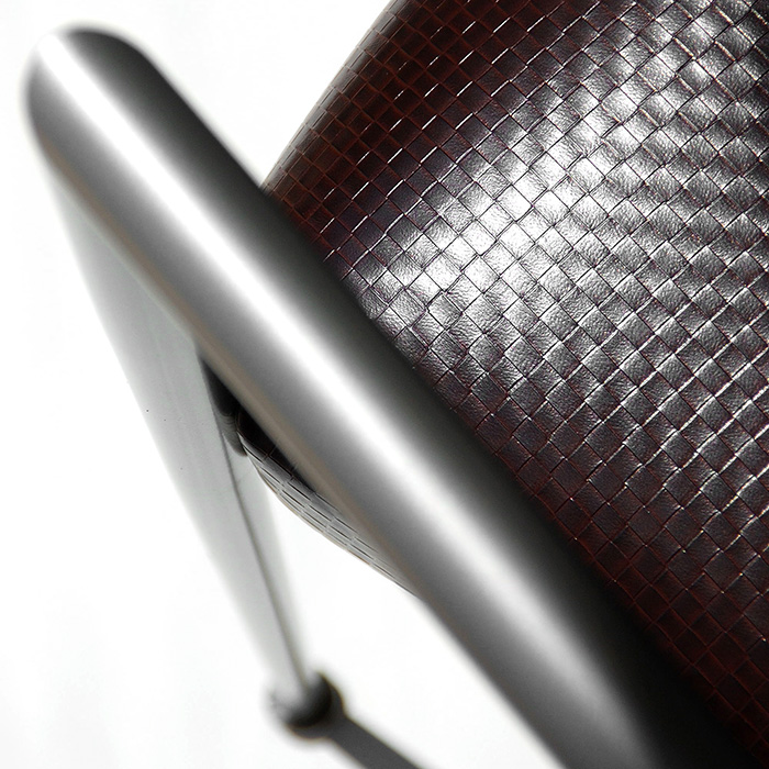 Iridescent basket weave faux leather for upholstery